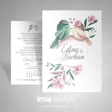 Aşık kuş çiftli ve çiçek motifli pastel renklerinde düğün davetiyesi 040