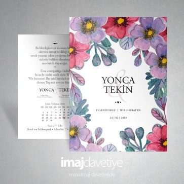 Renkli suluboya çiçekli düğün veya nişan davetiye kartı 041