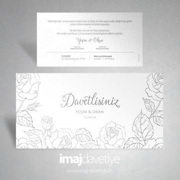 Güllerle süslü beyaz renkte düğün davetiyesi 070