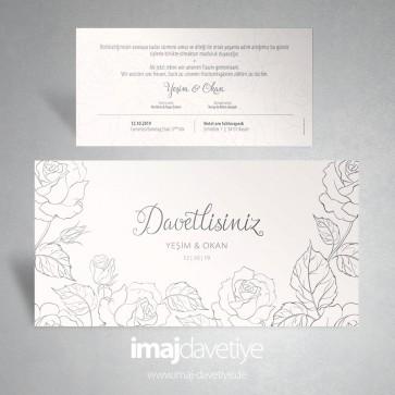 Güllerle süslü krem rengi düğün davetiyesi 070