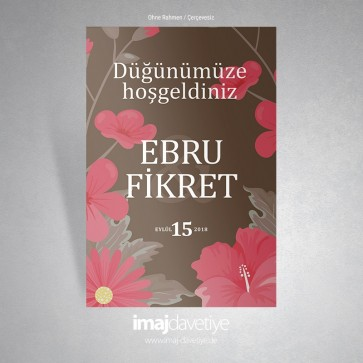 Farklı kırmızı renklerde çiçek motifli kahverengi karşılama afişi - 02