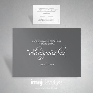 """Gri renkte """"evleniyoruz biz"""" düğün davetiyesi 052"""