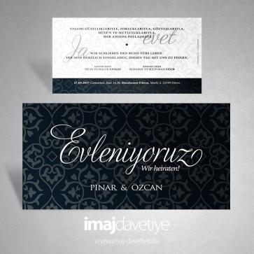 """Siyah renkte gri süslemeli """"Evleniyoruz"""" yazılı düğün davetiyesi 123"""