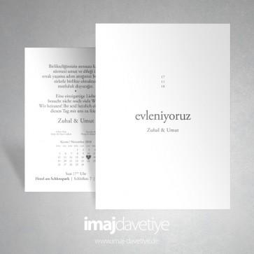 """Beyaz renkte """"evleniyoruz"""" yazılı düğün davetiyesi 050"""