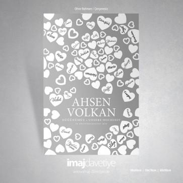 Gri renkte kalplerle süslü düğün veya kına geceniz için misafir hatıra afişi - 06