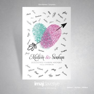Pembe ve yeşil parmak izli, ok işartli düğün veya kına geceniz için misafir hatıra afişi - 04