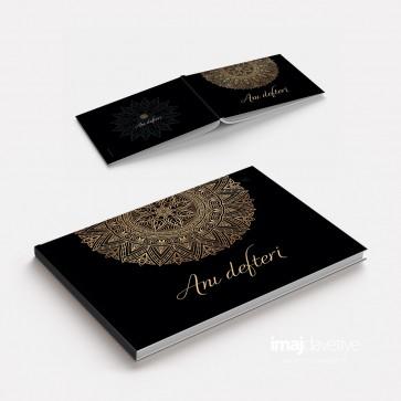 Düğün veya Kına geceniz için siyah-altın süslemeli Anı Defteri - GB06