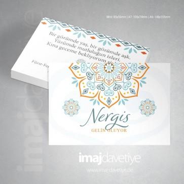 Oryantal desenli beyaz kına davetiye kartı 054