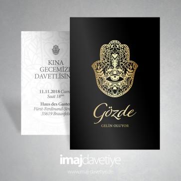 Siyah ve altın renkte Fatma'nın eli sembollü kına davetiye kartı 036