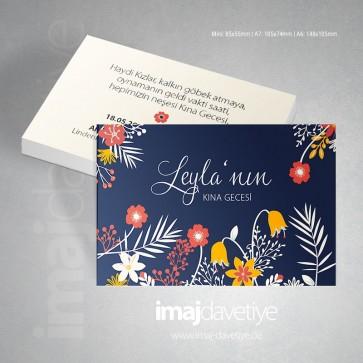 Lacivert renkte farklı çiçeklerle süslü kına kartı davetiyesi - değişik boyutlarda 28