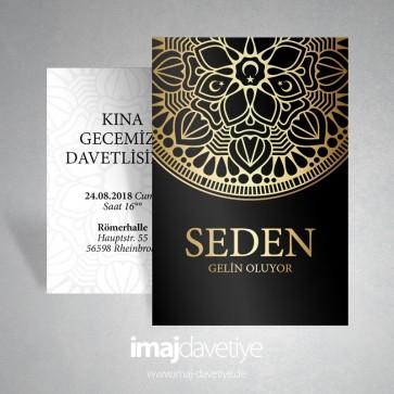 Siyah renkte altın süslemeli ayyıldızlı kına davetiye kartı 032
