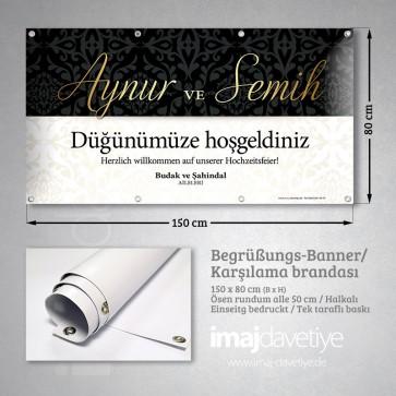Siyah-beyaz renkte altın yazı renginde düğün için PVC Karşılama Brandası 01