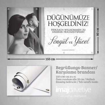 Düğün için siyah-beyaz fotoğraflı açık tonda PVC Karşılama Brandası 02