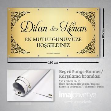 Altın renkte siyah yazılı düğün için PVC Karşılama Brandası 04