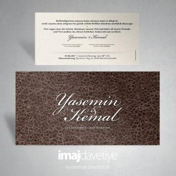 Kahverengi deri motifli/desenli düğün veya nişan davetiye kartı 150 b