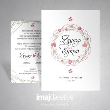 Konfetili kalpli beyaz renkte düğün veya nişan davetiyesi 016a