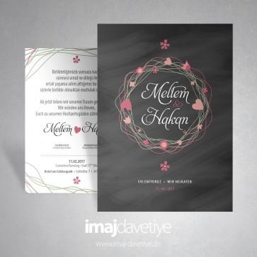 Konfetili kalpli siyah renkte düğün veya nişan davetiyesi 016S