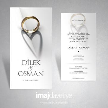 Nişan yüzüğünün gölgesinden oluşan kalpli düğün/nişan davetiyesi 128