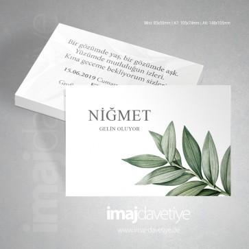 Botanik yaprak desenli beyaz kına davetiye kartı 058