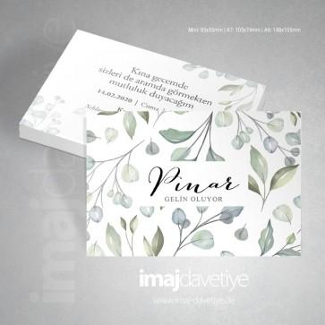 Kına davetiye kartı, yeşil yaprak desenli 071