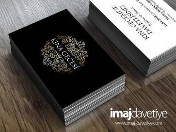 Siyah renkte ortası altın desenli kına kartı davetiyesi-değişik ölçülerde - 30