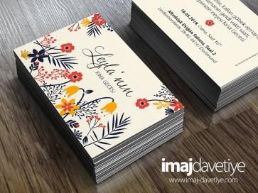 Krem renginde renkli çiçeklerle süslü kına kartı davetiyesi - değişik boyutlarda 28