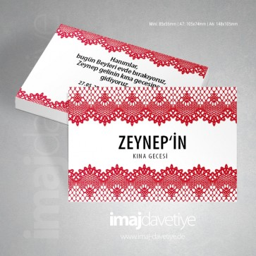 Kırmızı dantellli, beyaz renkte kına davetiye kartı 03