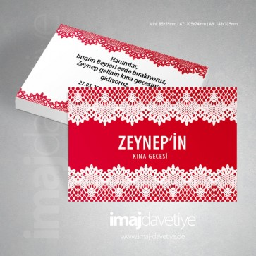 Beyaz dantellli, kırmızı renkte kına davetiye kartı 03