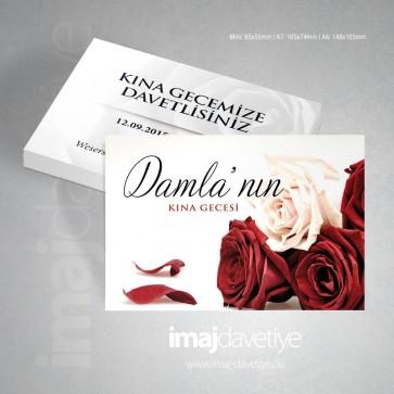 Kırmızı ve beyaz gül resimli Kına gecesi davetiye kartı 14