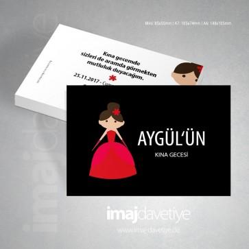 Kına gecesi için siyah renkte, üzeri kırmızı elbiseli gelin motifli kına kartı 10