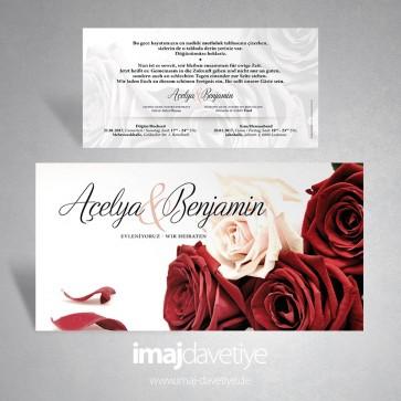 Kırmızı ve beyaz güllerle süslü düğün veya nişan davetiyesi 074