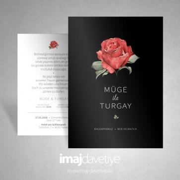 Siyah zemin üzeri kırmızı güllü düğün veya nişan davetiye kartı 037S