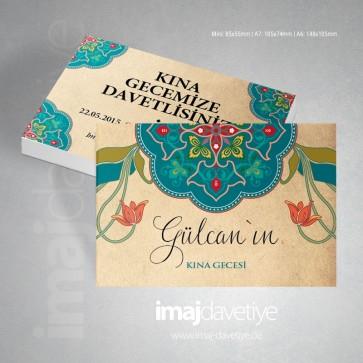 Kırmızı Laleli osmanlı motifleri ile süslü Kına davetiye kartı 13