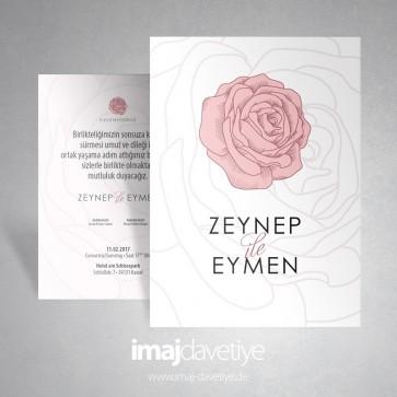 Pembe renkte gül motifli beyaz düğün veya nişan davetiyesi 013a