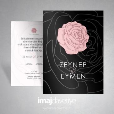 Siyah üzeri pembe gül motifli düğün veya nişan davetiye kartı 013 B