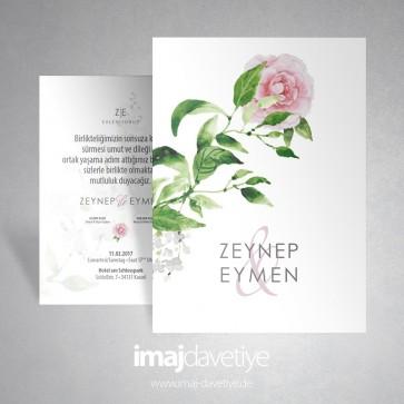 Suluboya tarzında dalında pembe güllü beyaz düğün / nişan davetiyesi 012