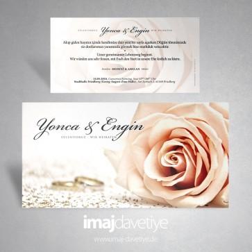 Açık pembe (roze) renkte gül ve yüzüklü düğün veya nişan davetiyesi 056