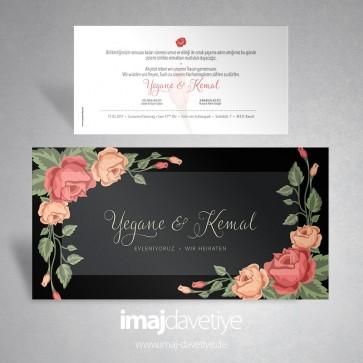 Sarı kırmızı güllerle süslü siyah düğün veya nişan davetiyesi 031