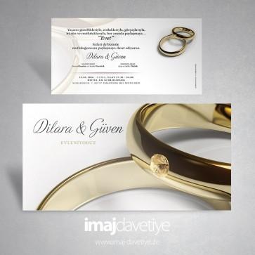 Einladungskarte mit Diamant- Goldring zur Hochzeit oder Verlobung 163