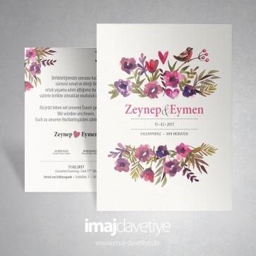 Karışık renklerde çiçeklerle ve kuşlarla süslü düğün/nişan davetiyesi 014