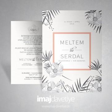 Çiçekli çizimli gri-beyaz düğün veya nişan davetiyesi 030