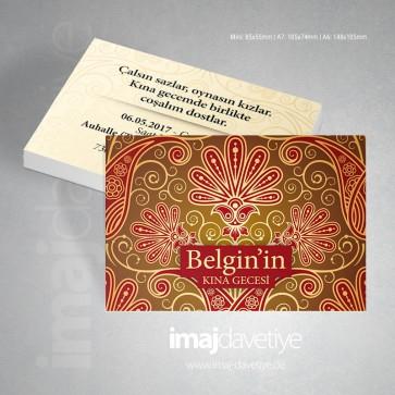 Farklı renklerde desenli süslemeli kına kartı davetiyesi  12