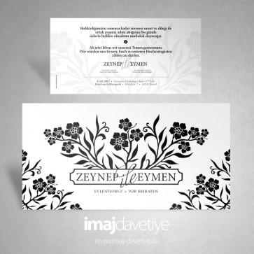 Beyaz renkte siyah çiçek ve yapraklı düğün veya nişan davetiye kartı 024W