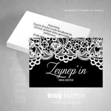 Beyaz dantelli siyah renkte kına gecesi davetiye kartı 08