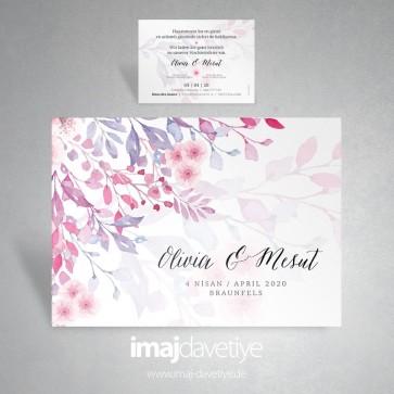 Suluboya tarzı çiçek desenli düğün davetiyesi 069