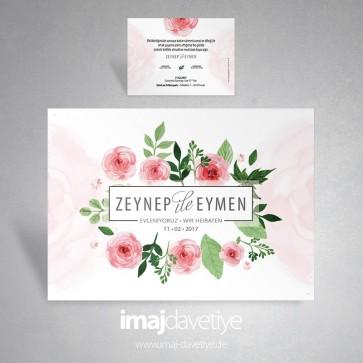 Pembe güllü düğün davetiyesi 004