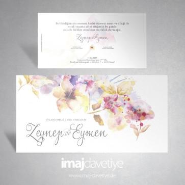 Suluboya tarzı çiçek desenli düğün davetiyesi 005