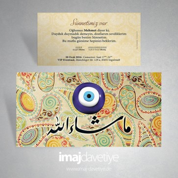 Arapça Maşallah yazılı sünnet davetiyesi 01