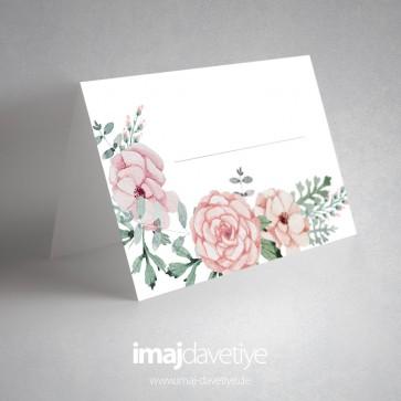 Pembe çiçekli masa kartı - 03