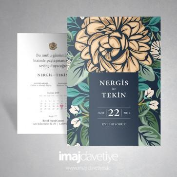 Sarı Kamelya çiçekli Vintage düğün davetiyesi 057